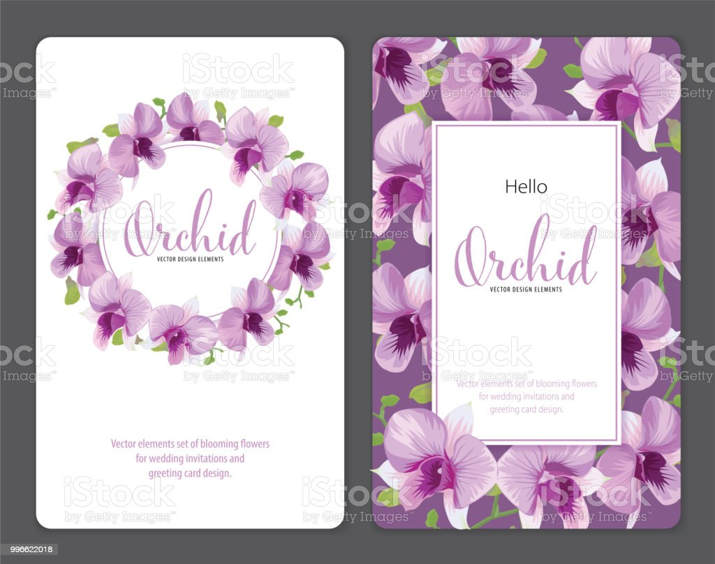 floral frame with tropical orchid flowers on purple background
