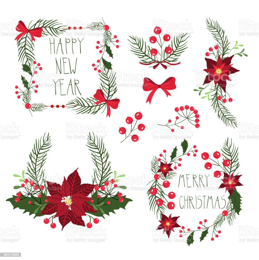 Floral Frames For Christmas Holiday Cards With Flowers And Berries Vector Illustration Stock Illustration Download Image Now Istock