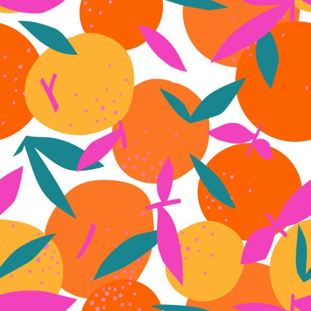 Floral Fruit seamless pattern made of oranges with leaves Floral Fruit seamless pattern made of oranges with leaves. Artistic background. Cut out paper design. Top view. Flat botanical illustration. floral and decorative background stock illustrations