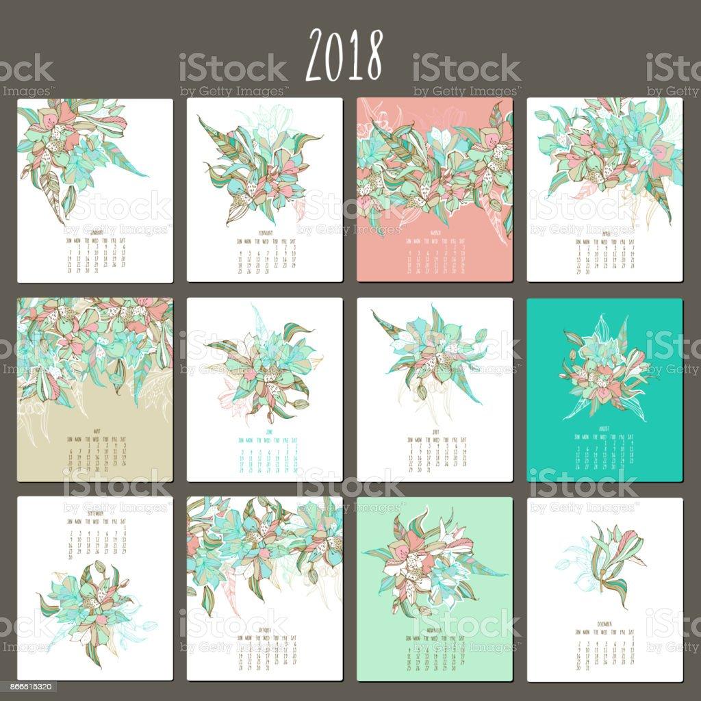Floral suave calendario 2018. Lirio peruano ramo - ilustración de arte vectorial