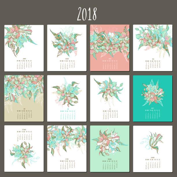 floral sanfte kalender 2018. blumenstrauß peruanische lilie - inkalilie stock-grafiken, -clipart, -cartoons und -symbole