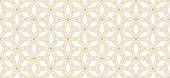 istock Floral geo grid pattern. Seamless minimalist gold ornament with flower shapes 1342512075