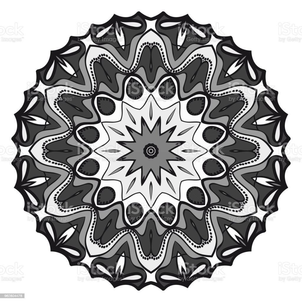 Teste padrão floral geométrico com desenho à mão Mandala. Ilustração em vetor. Para tecido, têxtil, bandana, scarg, impressão. - Vetor de Artigo de decoração royalty-free