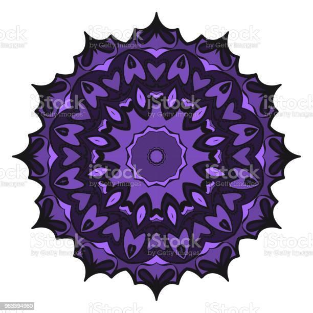 Kwiatowy Wzór Geometryczny Z Ręcznie Rysującą Mandalą Ilustracja Wektorowa Do Tkanin Tekstyliów Bandany Scarg Nadruków - Stockowe grafiki wektorowe i więcej obrazów Abstrakcja