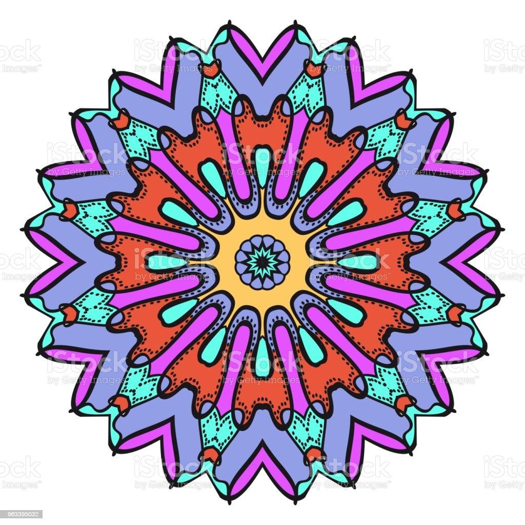 Geometriska blommönster med hand-ritning Mandala. Vektorillustration. Tyg, textil, bandana, scarg, ut. - Royaltyfri Abstrakt vektorgrafik