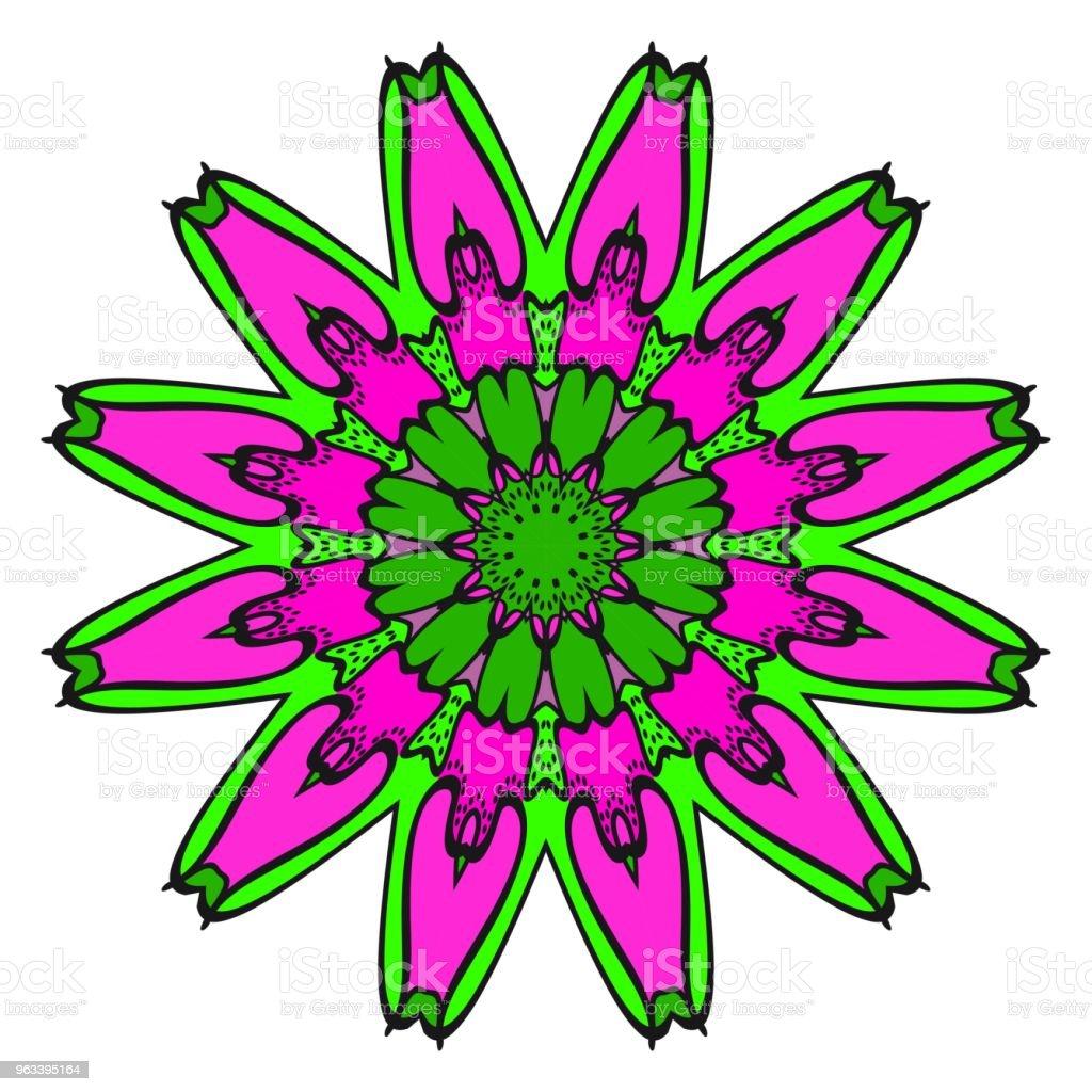 Kwiatowy wzór geometryczny z ręcznie rysującą Mandalą. Ilustracja wektorowa. Do tkanin, tekstyliów, bandany, scarg, nadruków. - Grafika wektorowa royalty-free (Abstrakcja)