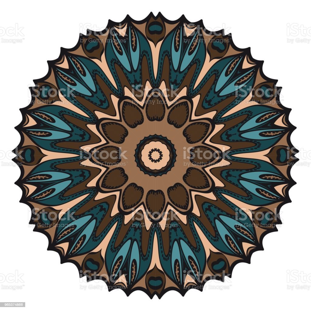 Floral Geometric Pattern with hand-drawing Mandala. Vector illustration. For fabric, textile, bandana, scarg, print. royalty-free floral geometric pattern with handdrawing mandala vector illustration for fabric textile bandana scarg print stock vector art & more images of abstract