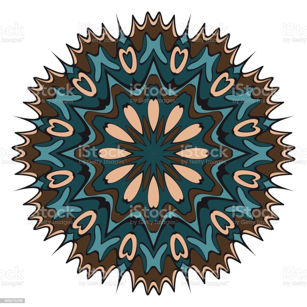 Floral Geometric Pattern with hand-drawing Mandala. Vector illustration. For fabric, textile, bandana, scarg, print. floral geometric pattern with handdrawing mandala vector illustration for fabric textile bandana scarg print - stockowe grafiki wektorowe i więcej obrazów abstrakcja royalty-free