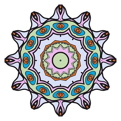 손그리기 만다라와 꽃 형상 패턴입니다 벡터 일러스트입니다 직물 섬유 두건 Scarg 인쇄에 대 한 0명에 대한 스톡 벡터 아트 및 기타 이미지