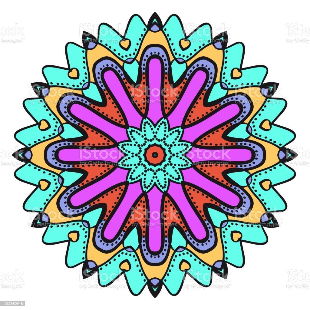 Geometrische Blumenmuster mit Hand-Zeichnung Mandalas. Vektor-Illustration. Für Stoff, Textil, Halstuch, Scarg, print. - Lizenzfrei Ausmalen Vektorgrafik