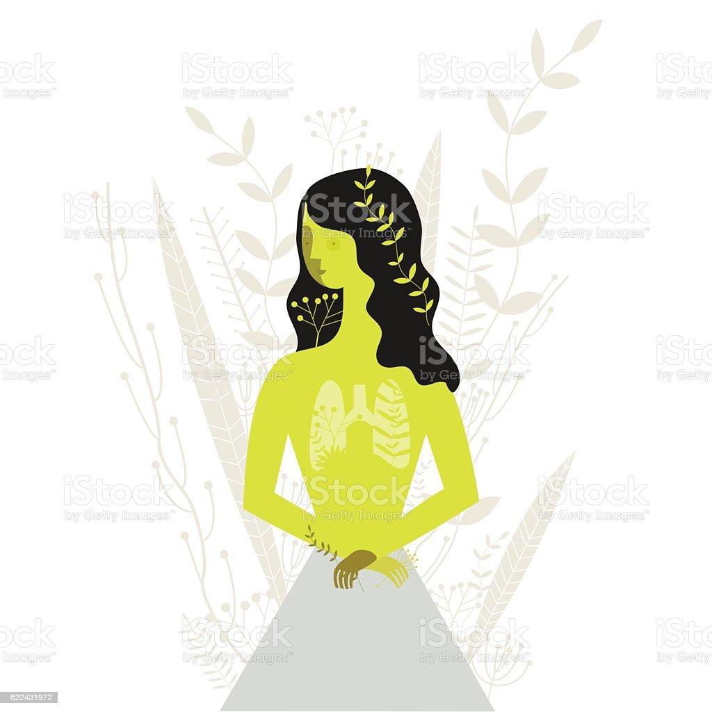 Floral girl vector art illustration