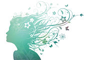 Vector illustration of abstract young girl face silhouette in profile with long floral hair