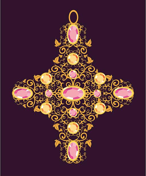 blumenmuster gold cross - kreuzkette stock-grafiken, -clipart, -cartoons und -symbole