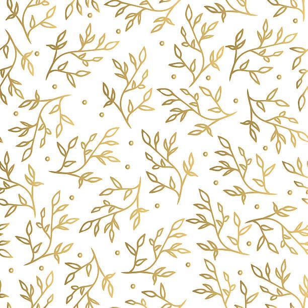 floral gold seamless pattern - 葉狀花紋 幅插畫檔、美工圖案、卡通及圖標