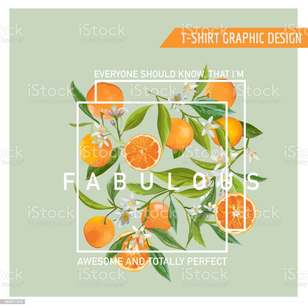 Floral Graphic Design. Orange Background. T-shirt Fashion Print vector art illustration