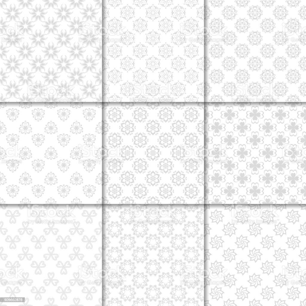 花柄グレーと白のシームレスなパターン背景壁紙のフラワーの要素を持つ