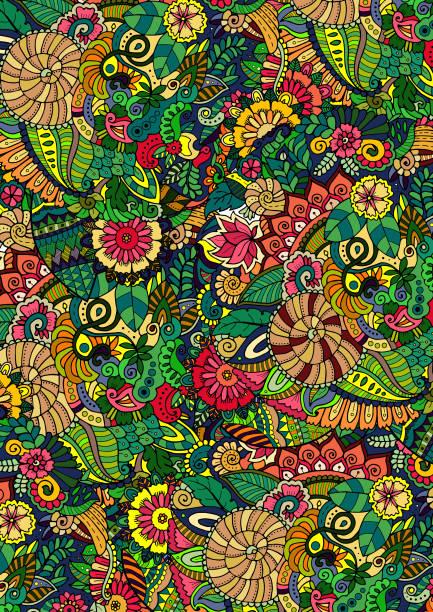 illustrazioni stock, clip art, cartoni animati e icone di tendenza di floral green background pattern - sfondo graffiti