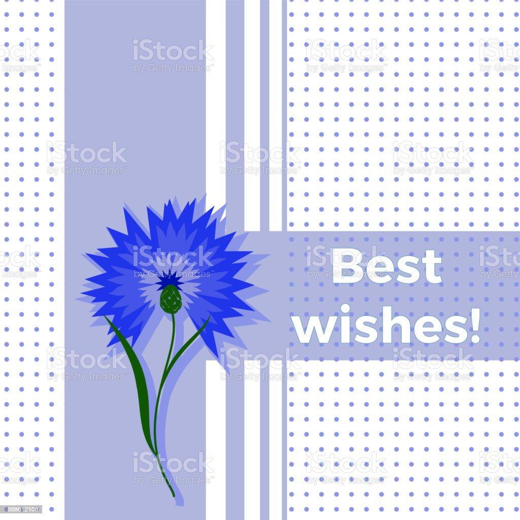 Carte De Voeux Floral Meilleurs Voeux Avec Fleur Bleu Bleuet Ou
