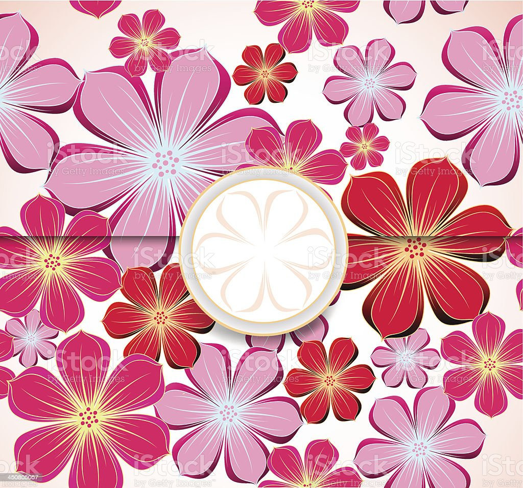Floral greeting card, invitation template. Vector royalty-free stock vector art
