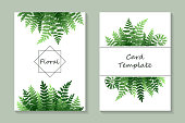 Set of two cards with green fern on a white background.