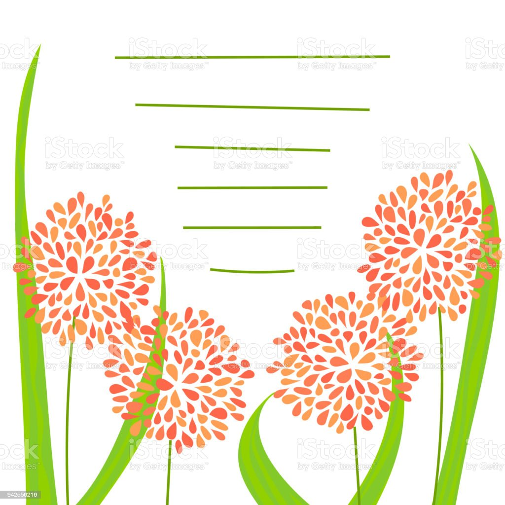 floral greeting card vector art illustration
