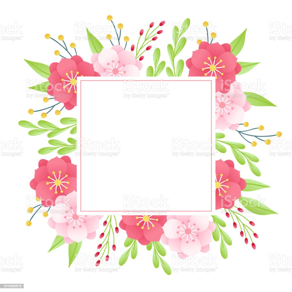 floral greeting card with berries anemone leaves square blank label