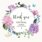 Summer Vintage Floral Greeting Card with Blooming Hydrangea and garden flowers, Thank you botanical natural hydrangea Illustration on white in watercolor style.