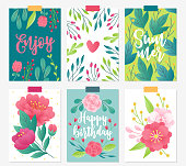 Set of six floral greeting cards with peony, anemone, roses, berries, leaves and branches