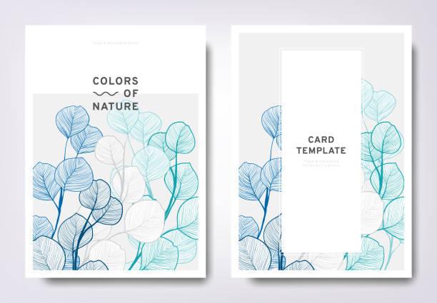 floral greeting/invitation card template design, hand drawn leaves, minimalist pastel style - botanika stock illustrations