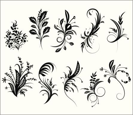 Floral Grunge Ornament Elements