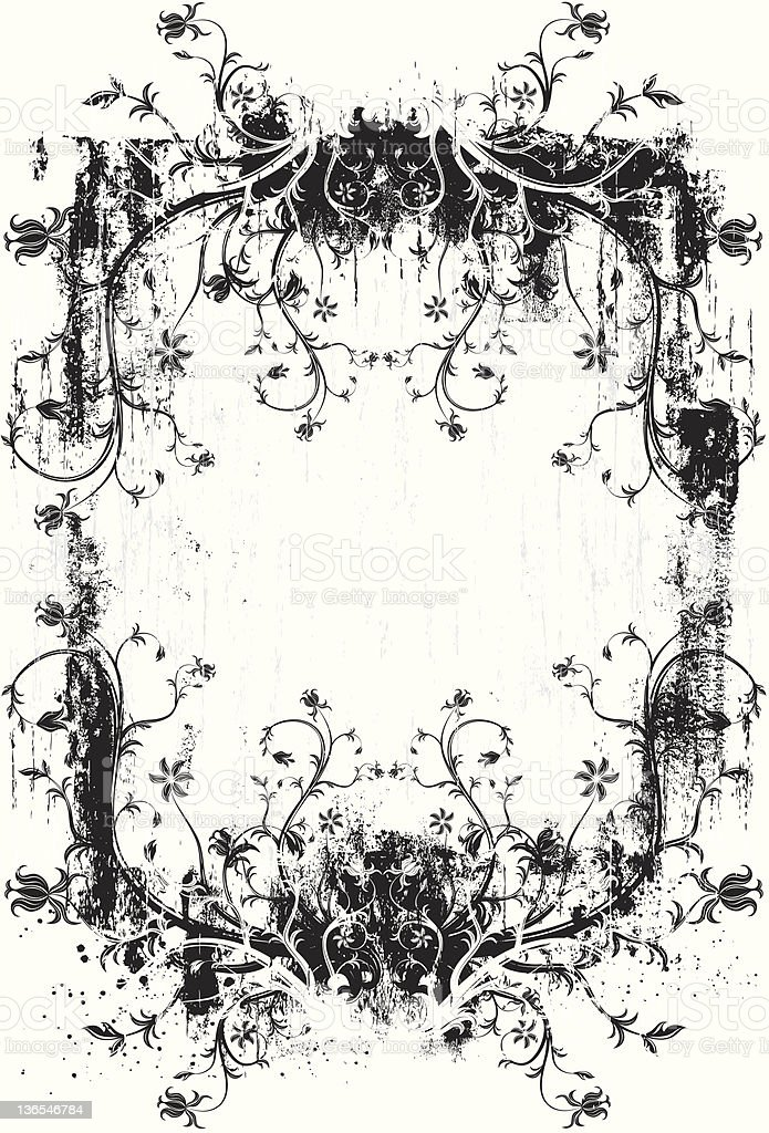 floral grunge scroll background royalty-free floral grunge scroll background stock vector art & more images of abstract