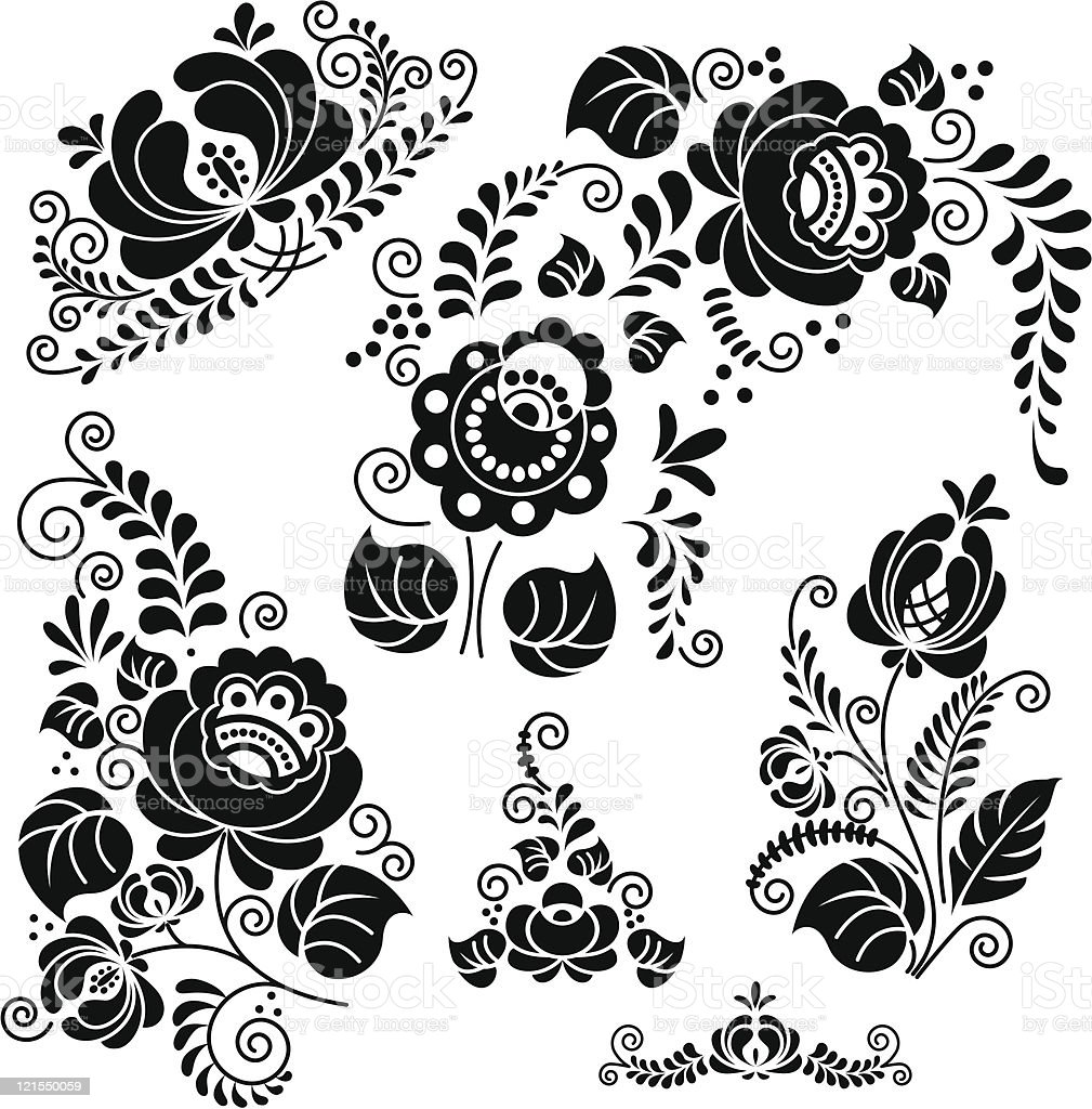 floral gzel royalty-free floral gzel stock vector art & more images of art