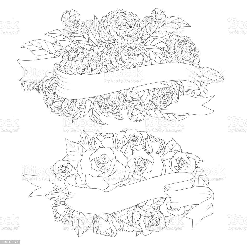 Floral handgezeichneten Bouquet mit verdrehten Band – Vektorgrafik