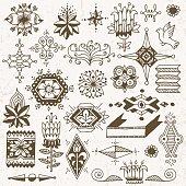 Floral hand drawn doodle design elements 2. Vector illustration.