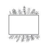 floral hand drawn farmhouse style outlined twigs branches frame border background with place for text