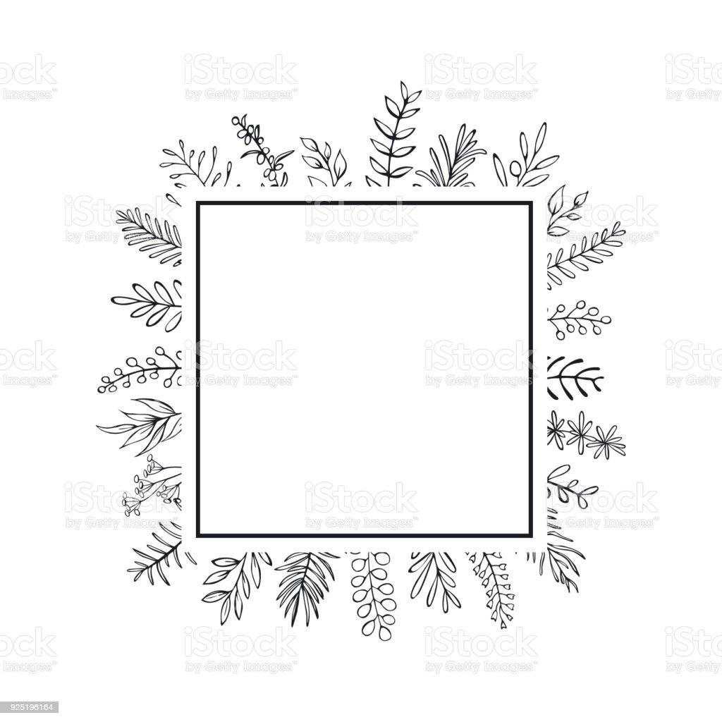 Ilustración de Mano Floral Casa Dibujada Estilo Esbozado Ramitas ...