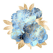 Vector hand drawn floral illustration with a bouquet of blue watercolor and gold peony flowers isolated on white background