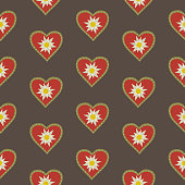 Floral hand drawn seamless pattern with edelweiss in heart