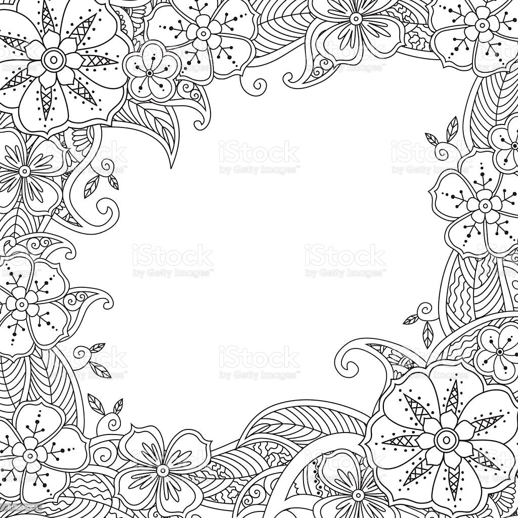 Floral hand drawn square frame. vector art illustration