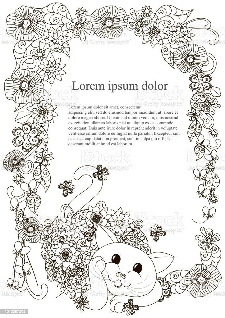 Vetores De Moldura Quadrada Desenhado De Mao Floral Com Gato Para