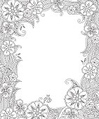 Floral hand drawn vertical frame in inspired style. Doodle flowers decorative border. Coloring book for adult and children. Editable vector illustration.