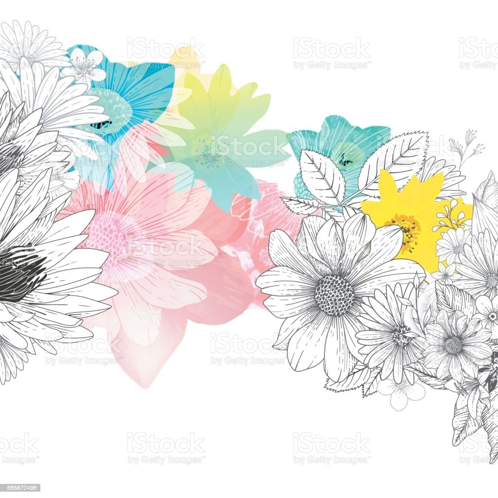 Floral Handrawn Background - Royalty-free Aster stock vector