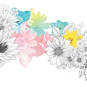 Floral vector background, file organized with layers.