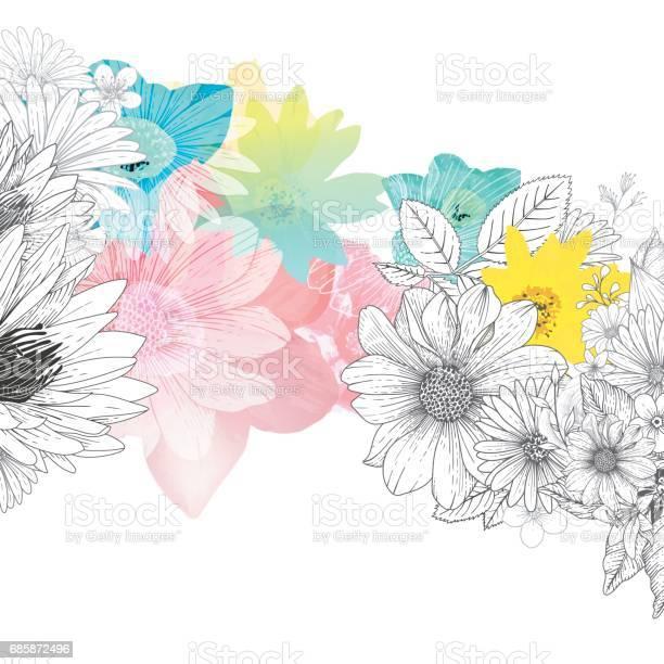 Floral Handrawn Background Stock Illustration - Download Image Now