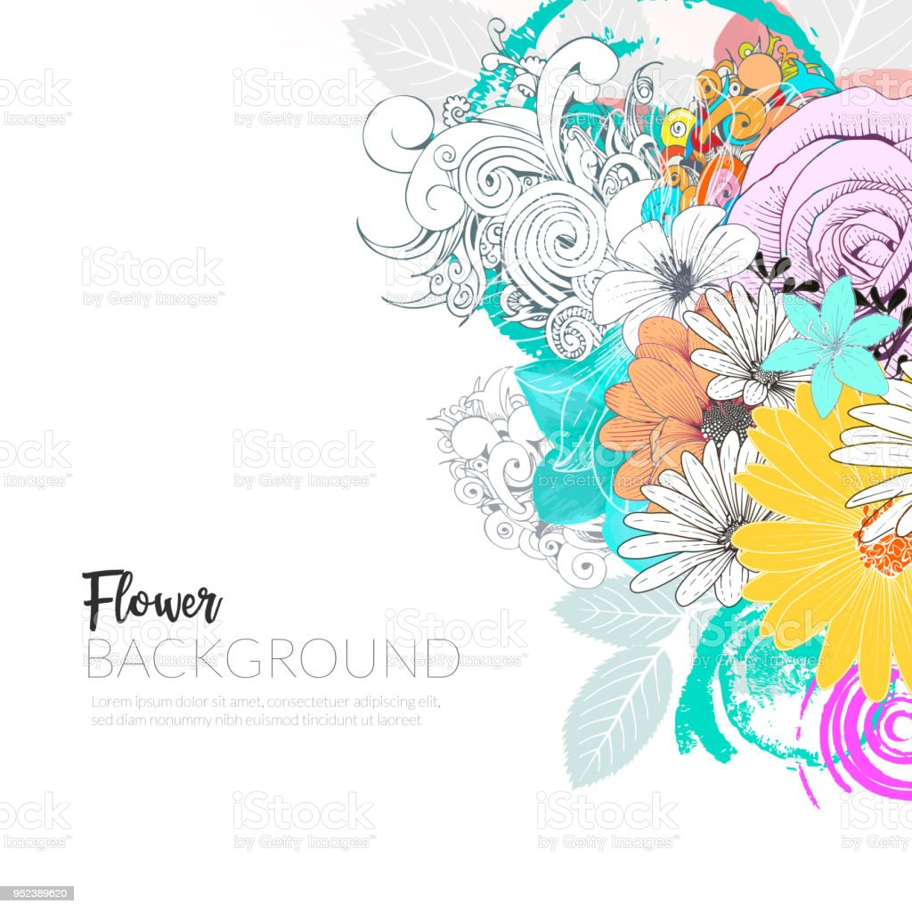 Floral Handrawn Background vector art illustration