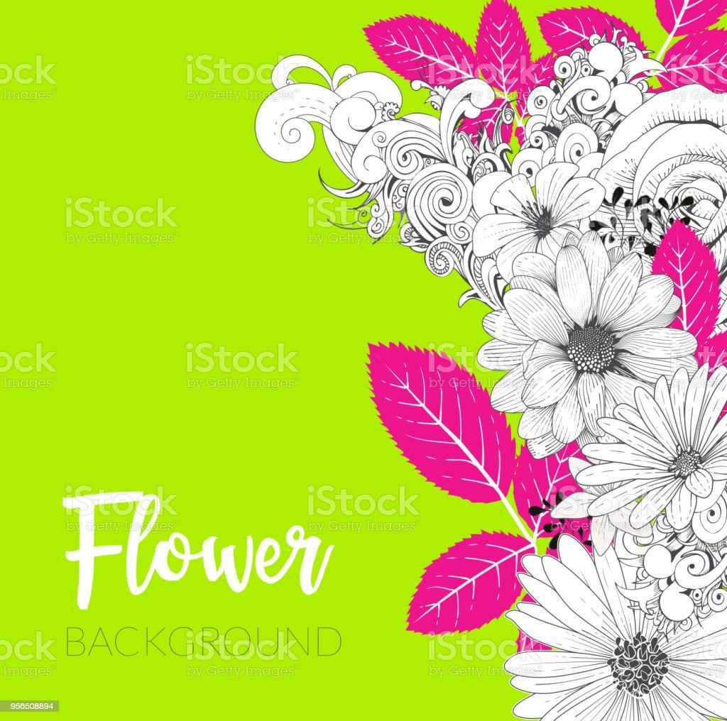 Floral Handrawn Hintergrund - Lizenzfrei Ast - Pflanzenbestandteil Vektorgrafik