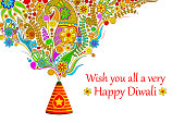 vector illustration of floral design coming out from firecracker in Happy Diwali