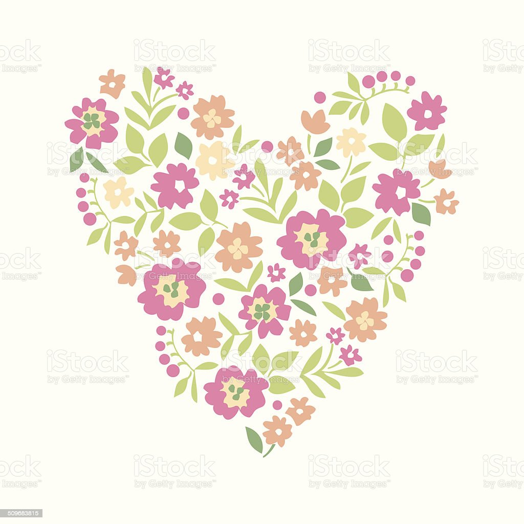 floral heart card cute retro flowers heart stock illustration - download  image now - istock  istock