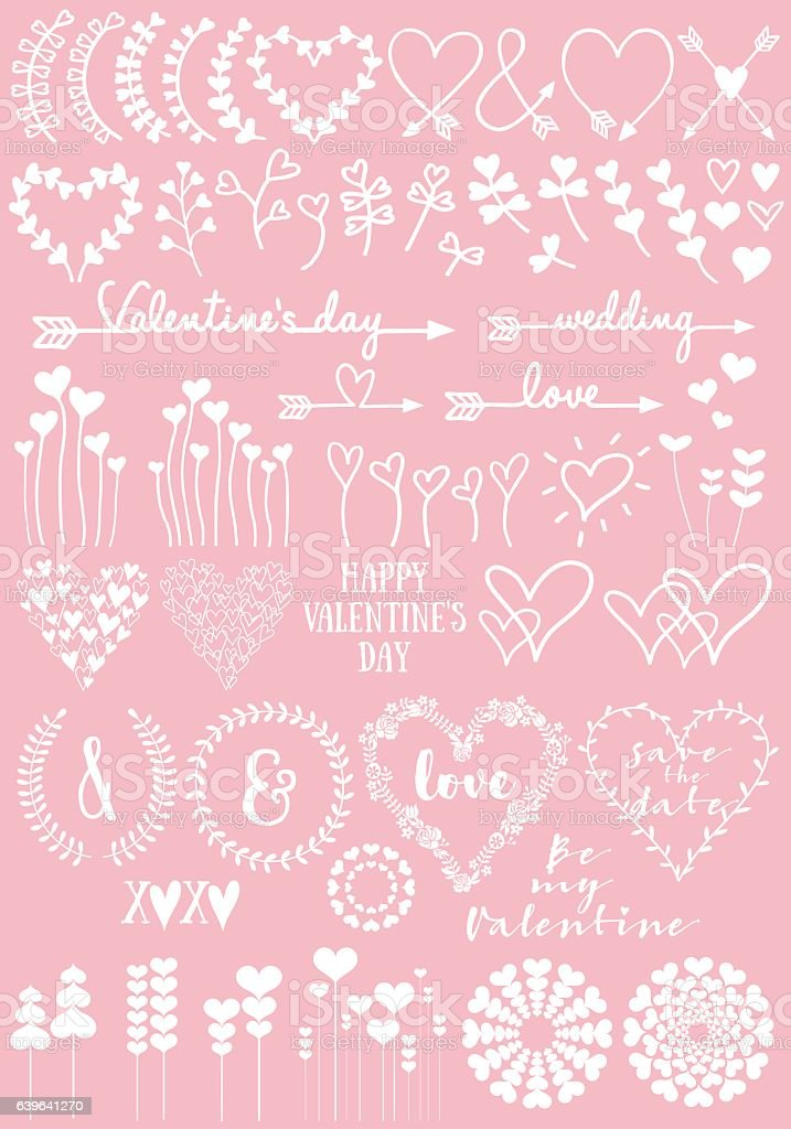 Floral heart designs, vector set ベクターアートイラスト