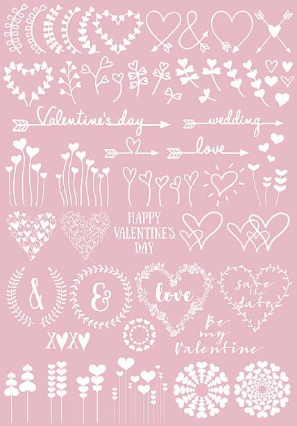 floral heart designs, vector set - いたずら書き/手書きのフレーム点のイラスト素材/クリップアート素材/マンガ素材/アイコン素材